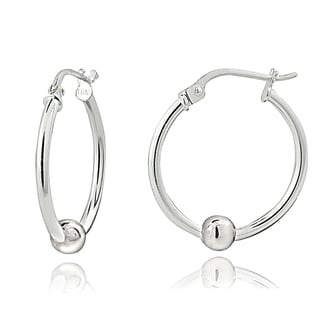 Mondevio Sterling Silver Bead Round Hoop Earrings, 25mm