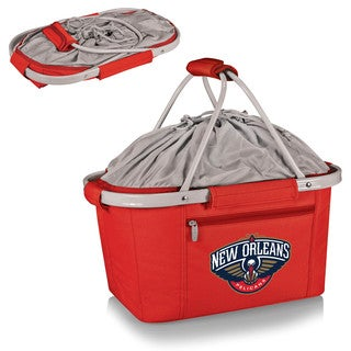 Picnic Time New Orleans Pelicans Print Red Polyester Metro Basket with Aluminum Frame