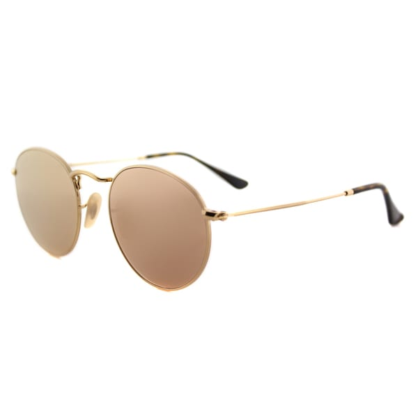 48d94e0a75fdc Shop Ray-Ban Shiny Gold Metal Round Sunglasses with Pink Flat Flash ...