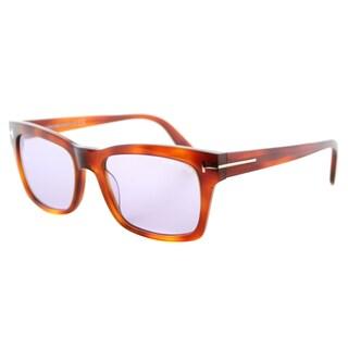 Tom Ford Frederik Blonde Havana Blue Lens Plastic Rectangle Sunglasses