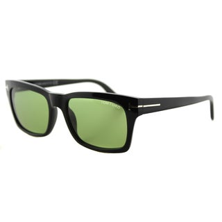 Tom Ford TF 494 01N Frederik Shiny Black Green Lens Plastic Rectangle Sunglasses