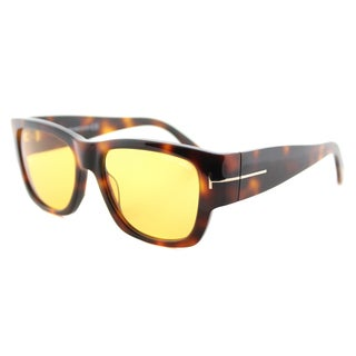 Tom Ford TF 493 52E Stephen Dark Havana Brown Lens Plastic Rectangle Sunglasses