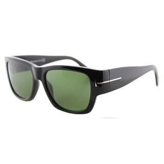Tom Ford TF 493 01N Stephen Shiny Black Green Lens Plastic Rectangle Sunglasses