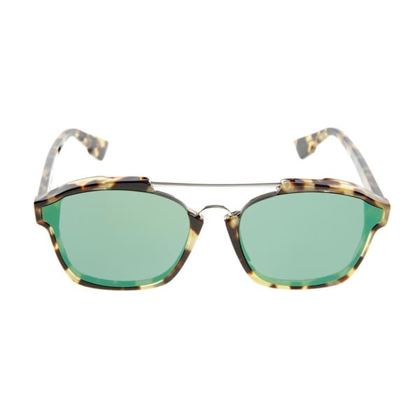 8db8dbc7885 Shop Dior Abstract 00F 9S Spotted Havana Plastic Rectangle Green Mirror  Lens Sunglasses - Free Shipping Today - Overstock - 12078170