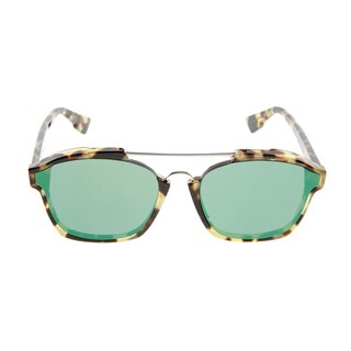 Dior Abstract 00F-9S Spotted Havana Plastic Rectangle Green Mirror Lens Sunglasses