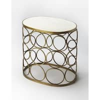 Handmade Butler Tallulah Oval Marble End Table (India)