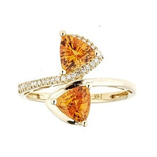 Anika and August 14k Yellow Gold Mandarin Garnet and Diamond Accent Ring (Size 7)