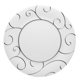 Red Vanilla Panache Black and White Porcelain 11-inch Dinner Plates (Pack of 6)