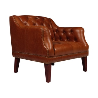 Jackson Tufted Brown Leather Club Chair