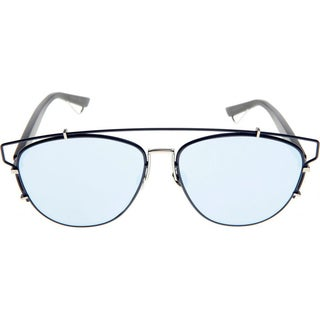 Dior Technologic PQU Blue Black Metal Aviator Blue Mirror Lens Sunglasses