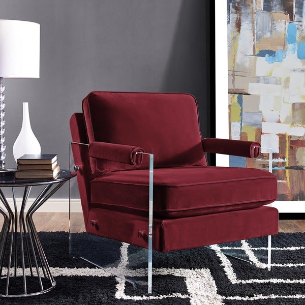 Shop Serena Maroon Velvet Lucite Chair Free Shipping