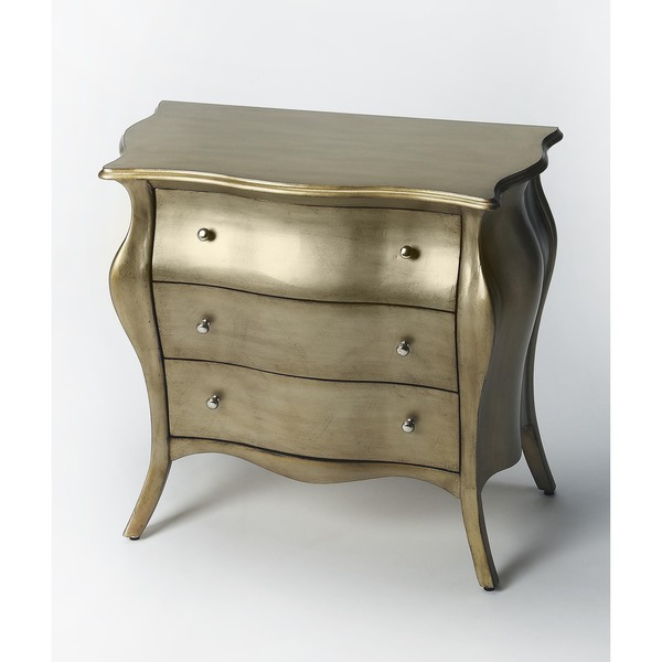 Butler Francine Brushed Pewter Painted Bombe Chest by Butler