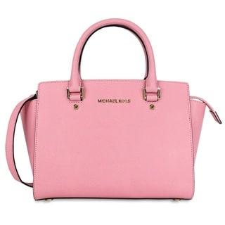 Michael Kors Selma Misty Rose Medium Saffiano Leather Satchel Handbag