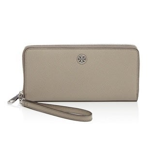 Tory Burch Perry French Gray Zip Passport Continental Wallet