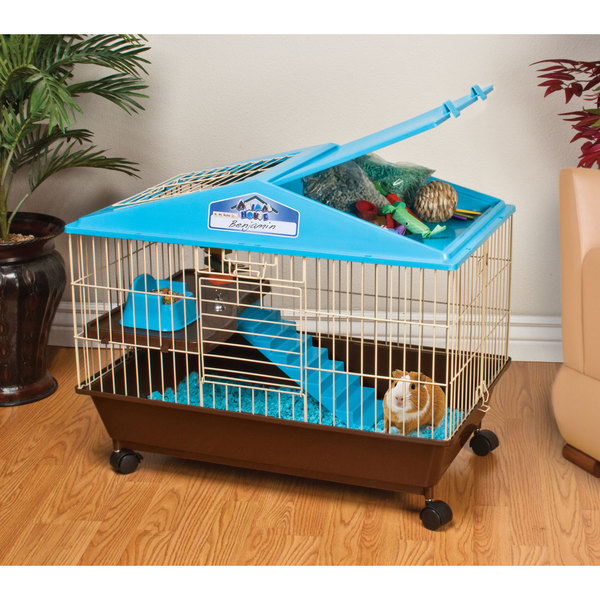 Shop animal house 28 inch guinea pig small animal cage blue free shipping today for Critter ware living room series