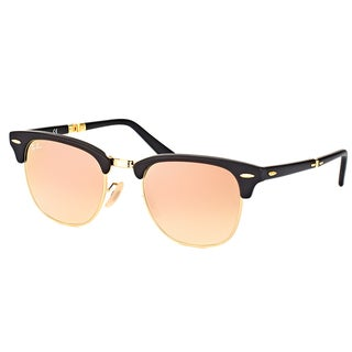Ray-Ban Clubmaster Matte Black Plastic Folding Clubmaster Sunglasses with Copper Flash Gradient Lens