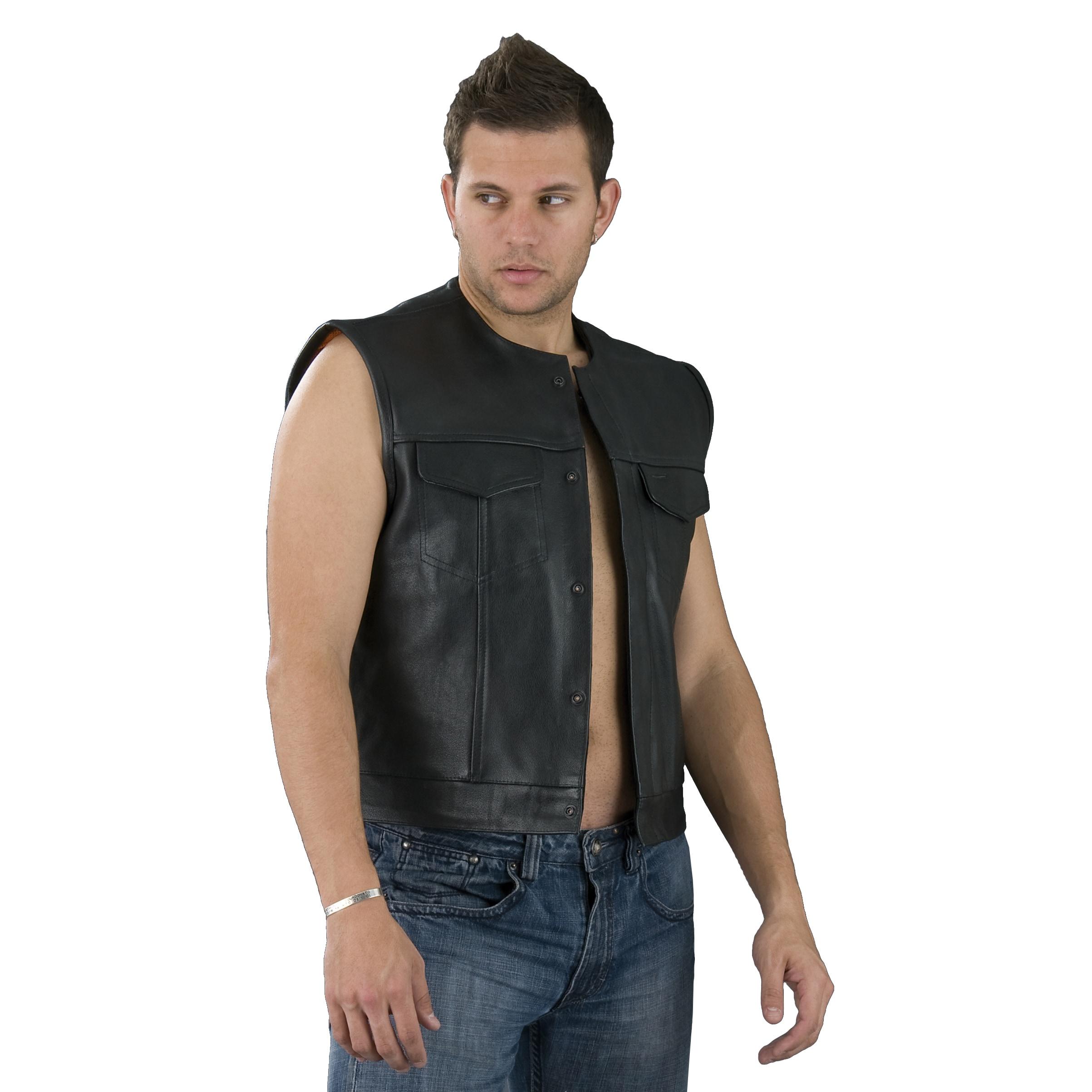 Gun Pocket Mens Blue Denim Collarless Club Motorcycle Vest w// Snap Zipper Front