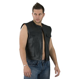 Men's Black Leather Collarless Concealed Snap Club Style Vest (Option: S)