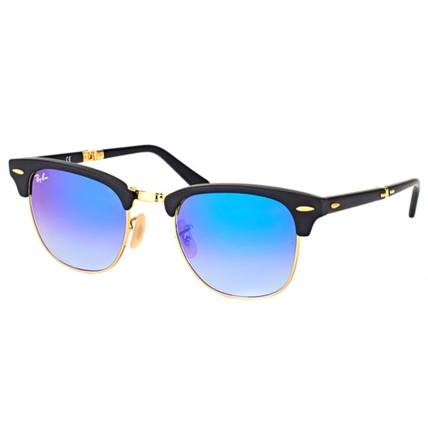 3051156406 Ray-Ban RB2176 Clubmaster Unisex Black Folding Frame Blue Mirror Lens  Sunglasses