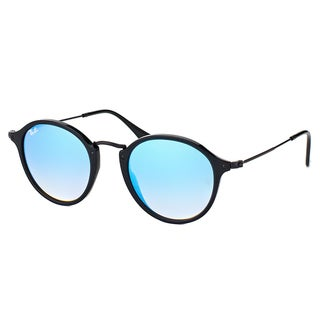 Ray-Ban Unisex Black/Blue Plastic Shiny Round Gradient Sunglasses