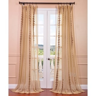 EFF Cleopatra Gold Embroidered Sheer Curtain Panel (50W x 120L) (As Is Item)