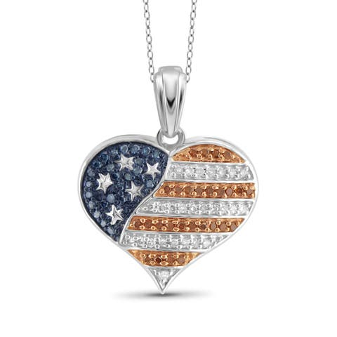 JewelonFire 1/4 CTTW Multi Color Diamond Flag Heart Pendant in Sterling Silver - White