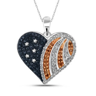 JewelonFire 1/3 CTTW Multi Color Diamond Heart Pendant in Sterling Silver