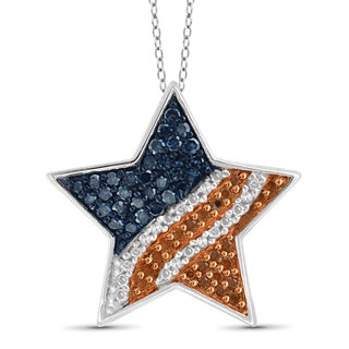 JewelonFire 1/4 CTTW Multi Color Diamond Star Pendant in Sterling Silver