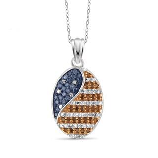 JewelonFire 1/4 CTTW Multi Color Diamond Flag Pendant in Sterling Silver