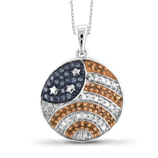 JewelonFire 1/4 CTTW Multi Color Diamond Flag Pendant in Sterling Silver