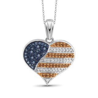 JewelonFire 1/4 CTTW Multi Color Diamond Flag Heart Pendant in Sterling Silver