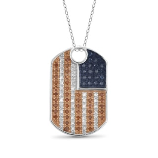 JewelonFire 1/4 CTTW Multi Color Diamond Dog Tag Pendant in Sterling Silver