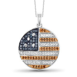 JewelonFire 1/3 CTTW Multi Color Diamond Flag Pendant in Sterling Silver