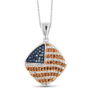 JewelonFire 1/3 CTTW Multi Color Diamond Patriotic Pendant in Sterling Silver
