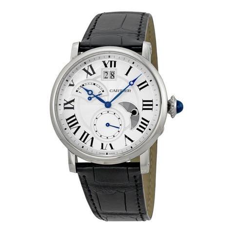 Cartier Men's W1556368 'Rotonde Retrograde' Automatic Black Leather Watch