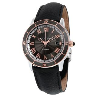 Cartier Men's W2RN0005 'Ronde Croisiere' 18kt pink gold Automatic Black Leather Watch