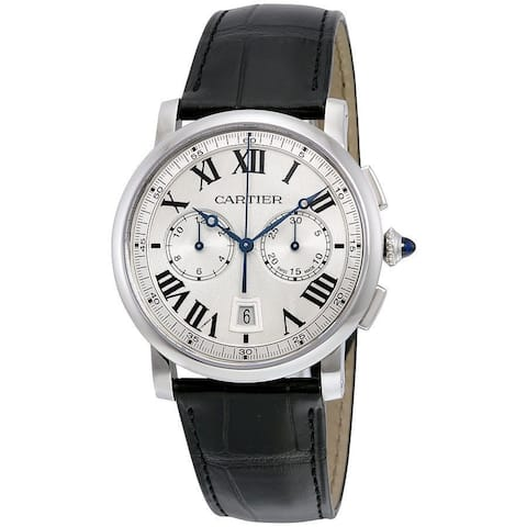 Cartier Men's WSRO0002 'Rotonde' Chronograph Automatic Black Leather Watch
