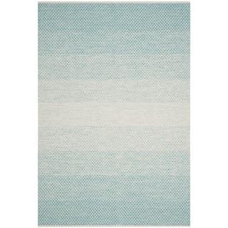 Safavieh Hand-Woven Montauk Turquoise/ Ivory Cotton Rug (4' x 6')