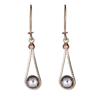 Decadence 14k Tricolor Gold Half Ball and Pear Shaped Dangling Earrings