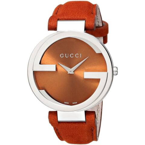 Gucci Women's YA133316 'Interlocking' Orange Leather Watch