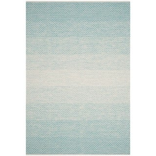 Safavieh Hand-Woven Montauk Turquoise/ Ivory Cotton Rug (6' x 9')