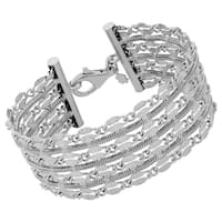 Argento Italia Rhodium Plated Sterling Silver Alternate Row of Diamond-cut Flat Link and Square Snake Chain Bracelet