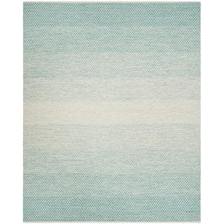 Safavieh Hand-Woven Montauk Turquoise/ Ivory Cotton Rug (8' x 10')