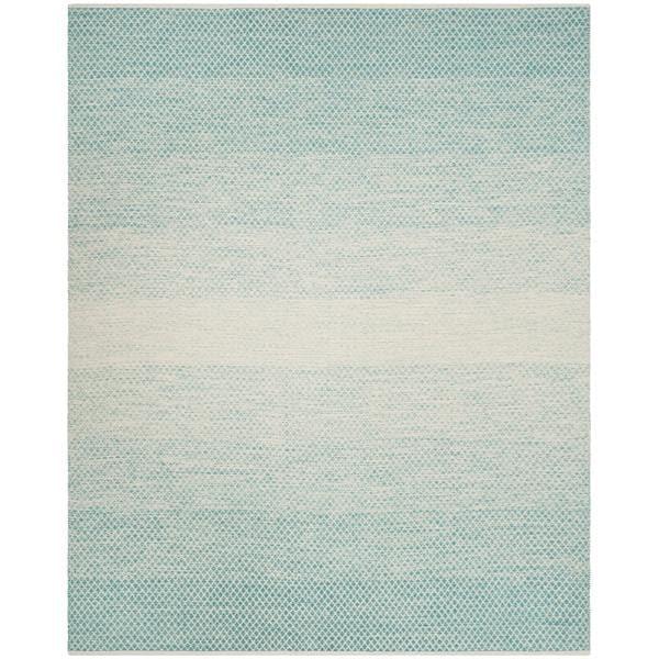 Safavieh Hand-Woven Montauk Turquoise/ Ivory Cotton Rug - 8' x 10'