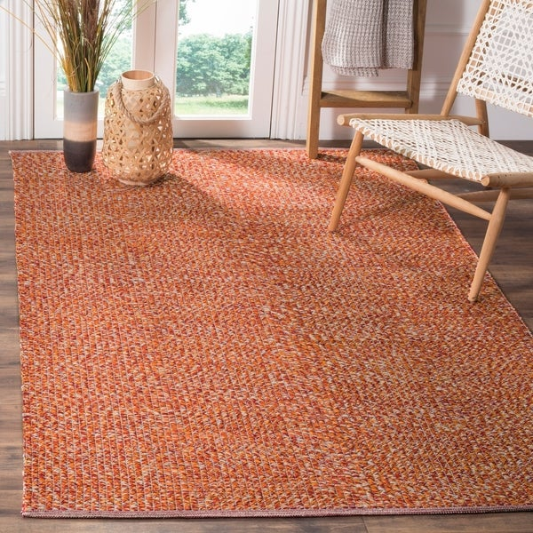 Safavieh Hand-Woven Montauk Orange/ Multi Cotton Rug - 8' x 10'