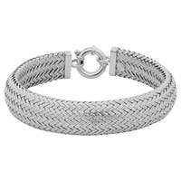 Argento Italia Rhodium Plated Sterling Silver 14-mm Weave Bracelet
