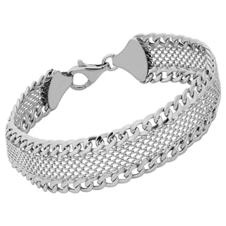 Argento Italia Rhodium Plated Sterling Silver 14-mm Mesh and Link Bracelet (7.5 inches)
