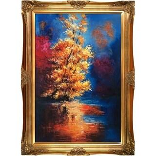 Justyna Kopania 'River' Hand Painted Framed Canvas Art