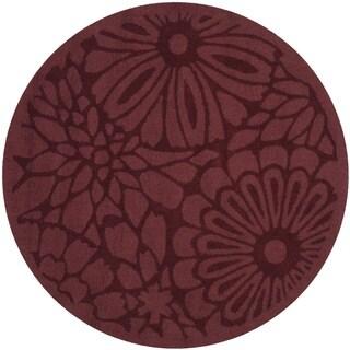 Martha Stewart by Safavieh Full Bloom Vermillion Wool Rug (4' Round)