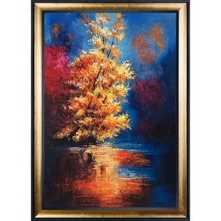 Justyna Kopania 'River' Hand Painted Framed Canvas Art